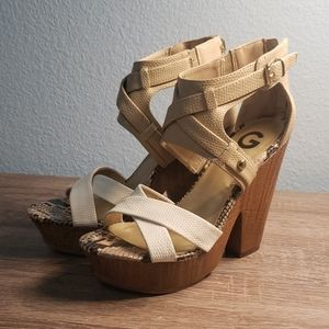GUESS Leather Nude & White Sandals w/Wood Platform